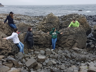 NYU students devising at The Giant's Causeway